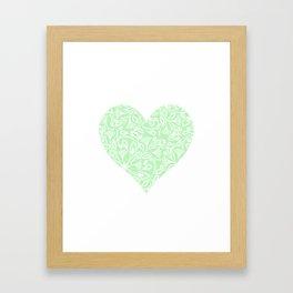 Floral Heart Design in Green Framed Art Print