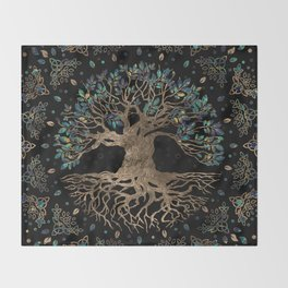 Tree of life -Yggdrasil Golden and Marble ornament Throw Blanket