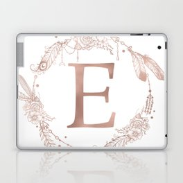 Letter E Rose Gold Pink Initial Monogram Laptop & iPad Skin