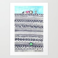 Art Print featuring The princess and the pea by Pizublic Illustration