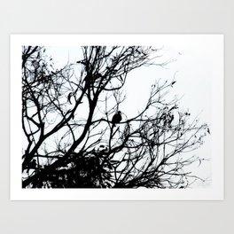 Dove Bird & Winter tree Silhouette Art Print