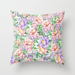 Hand painted lavender coral green watercolor floral Throw Pillow