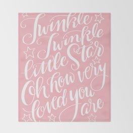 Twinkle Twinkle Little Star Pink Throw Blanket