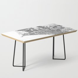 Lima White Map Coffee Table