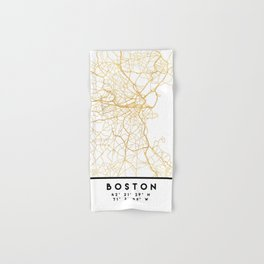 BOSTON MASSACHUSETTS CITY STREET MAP ART Hand & Bath Towel