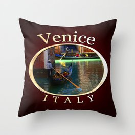 Gondoliers On A Venetian Canal Throw Pillow