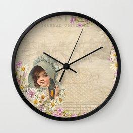 Vintage Woman Neck Gator Daisy Girl Vintage Lady Wall Clock