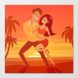 Salsa party, latino dancer vector illustration. Cuban couple of happy woman and man. Samba, bachata Canvas Print