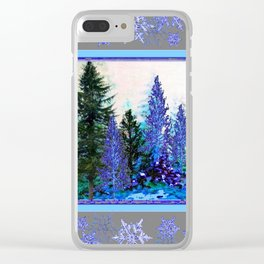 GREY WINTER SNOWFLAKE  CRYSTALS FOREST ART Clear iPhone Case