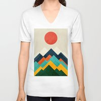 outdoor V-neck T-shirts featuring The hills are alive by Picomodi