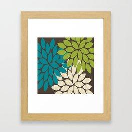 Bold Colorful Biege Brown Teal Green Dahlia Flower Burst Petals Framed Art Print