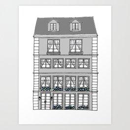 European Townhouse - Gray Art Print
