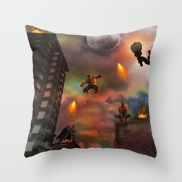 Super Hero Showdown Throw Pillow