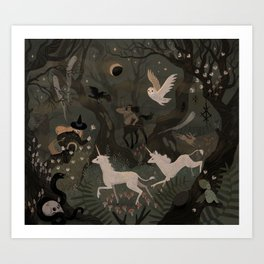 Spooky Forest with Ghosts Art Print