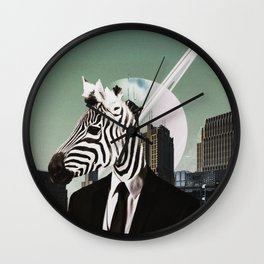 Zebra Man - Creative Digital Collage - Manhattan New York Wall Clock