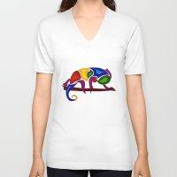 chameleon V-neck T-shirts featuring Chameleon by Aleksandra Mikolajczak