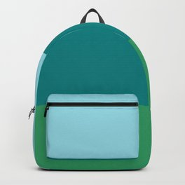 Tanager Turquoise, Teal Blue and Kelly Green Horizontal Color Blocks Backpack