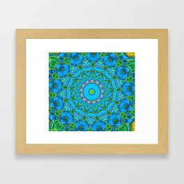 Lovely Healing Mandalas in Brilliant Colors: Blue, Green, Yellow, and Pink Framed Art Print