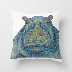 Hippie-Potamus (Blue) Throw Pillow