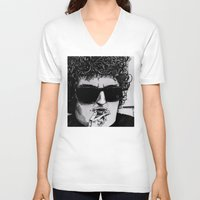 bob dylan V-neck T-shirts featuring Bob Dylan by Drawn by Nina