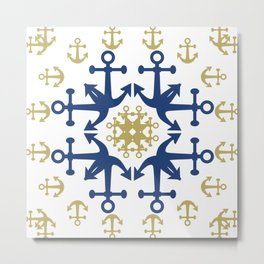Anchors of Gold and Blue Metal Print