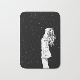 girl and the starry sky Bath Mat