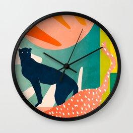 tropical cats Wall Clock