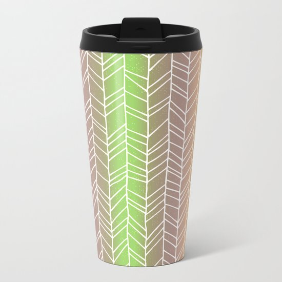 Colorful Rainbow Feather Pattern Metal Travel Mug