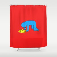 alcohol Shower Curtains featuring Keith Haring style - Too much alcohol - Funny Illustration Pop Art by Estef Azevedo
