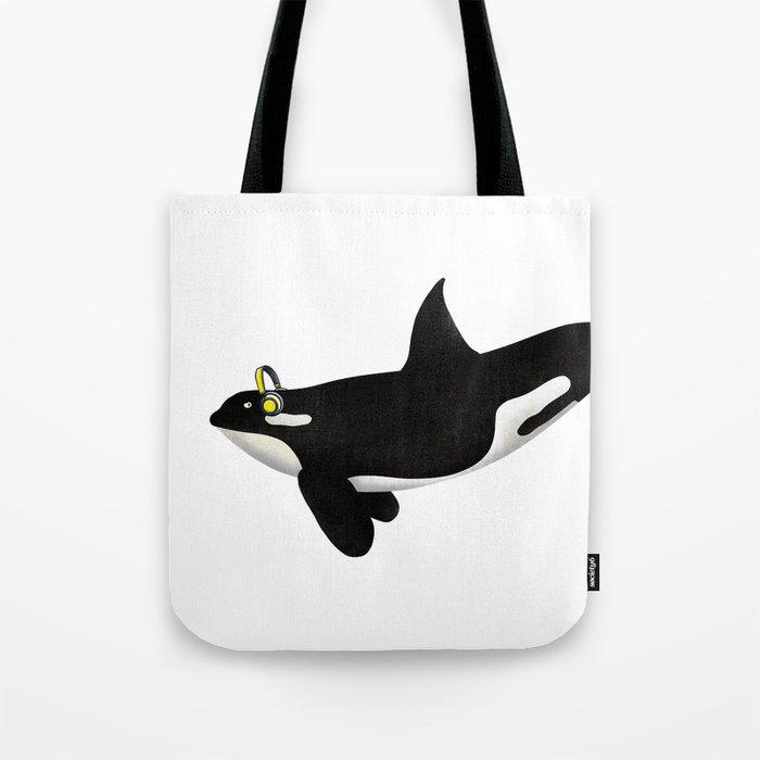 Killer Whale Headphones Tote Bag