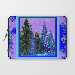 BLUE-LILAC WINTER SNOWFLAKE CRYSTALS FOREST ART DESIGN Laptop Sleeve