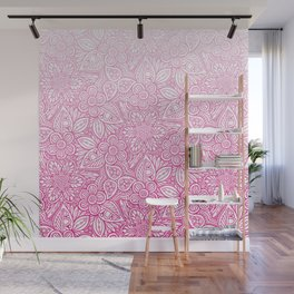 Flower Power Pattern Pink Wall Mural