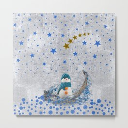 Snowman with sparkly blue stars Metal Print