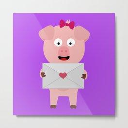 Female Pig with Loveletter Metal Print