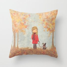 Little girl with dog in autumn landscape Throw Pillow