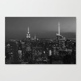 The Empire State and the city. Black & white photography Canvas Print