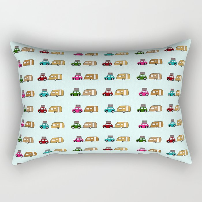 Car with caravan Rectangular Pillow