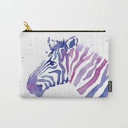 Zebra Watercolor Purple Stripes Animal Carry-All Pouch