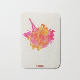 Paris, France Colorful Skyround / Skyline Watercolor Painting Bath Mat