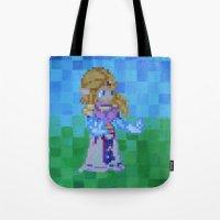 8bit Tote Bags featuring 8bit Zelda by Cariann Dominguez