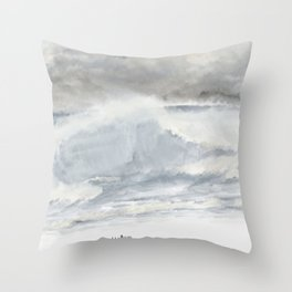 Stormy Silver Sea Throw Pillow