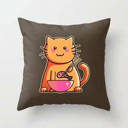 A cat's favourite meal Throw Pillow