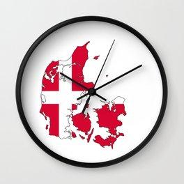 denmark flag map Wall Clock