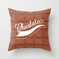 chocolate Throw Pillows featuring Chocolate by Barbo's Art
