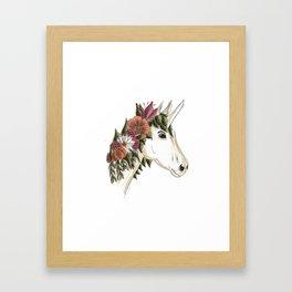 Floral Unicorn Framed Art Print