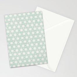 Seafoam Green Asanoha (Hemp Leaf) Pattern Stationery Cards