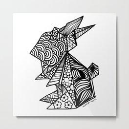 Bunny Origami Doodle Metal Print