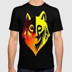 The Solar Wolf SMALL Black Mens Fitted Tee