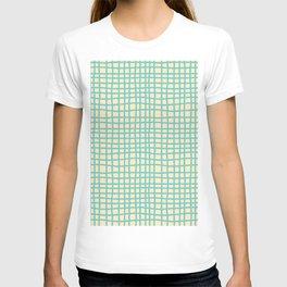 coconut cream aqua ocean thread random cross hatch lines checker pattern T-shirt