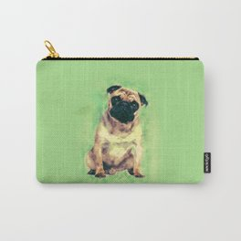 Cute Pug dog on gentle green Carry-All Pouch